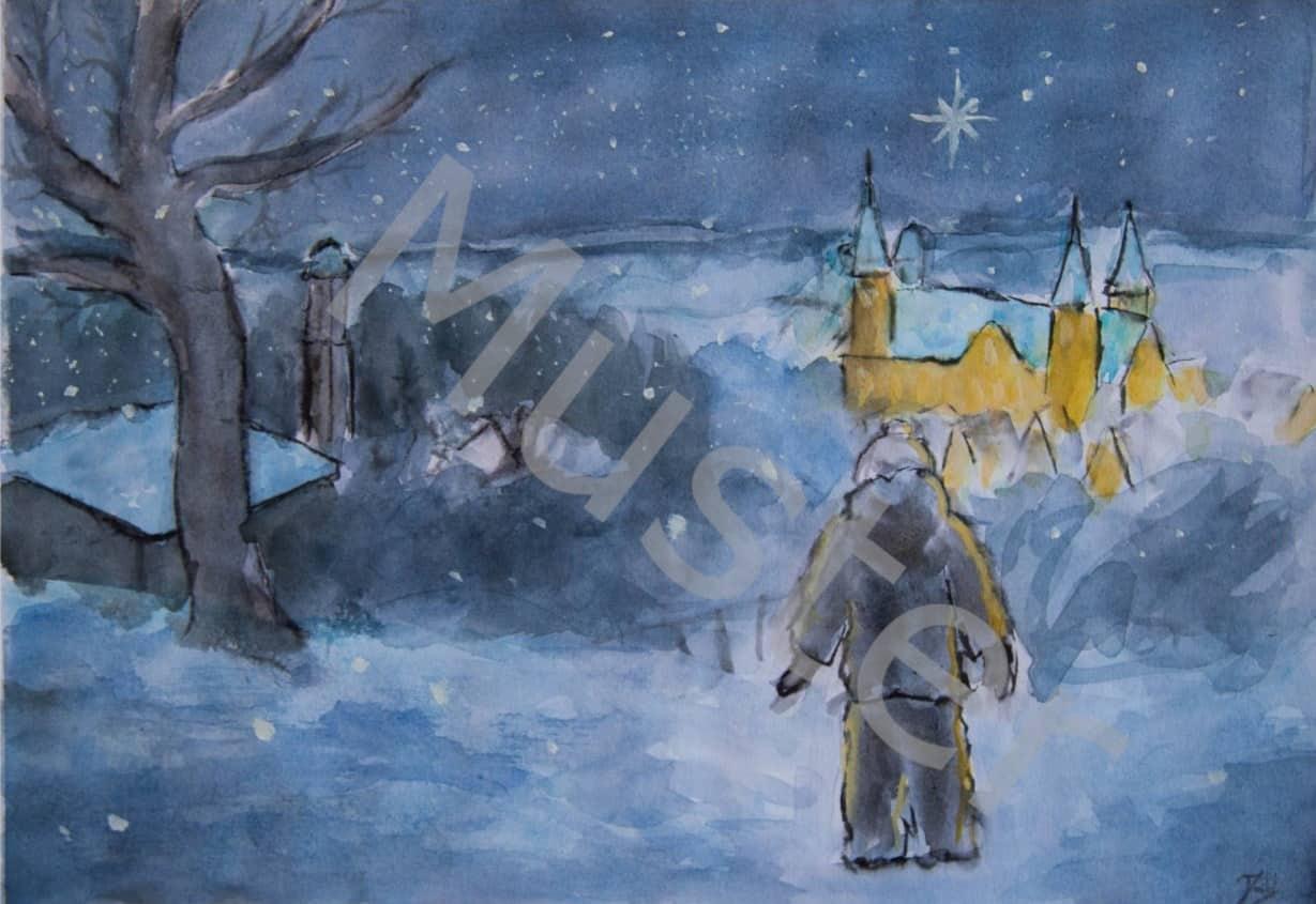 """""""winterliche Stadtansicht mit Basilika"""""""