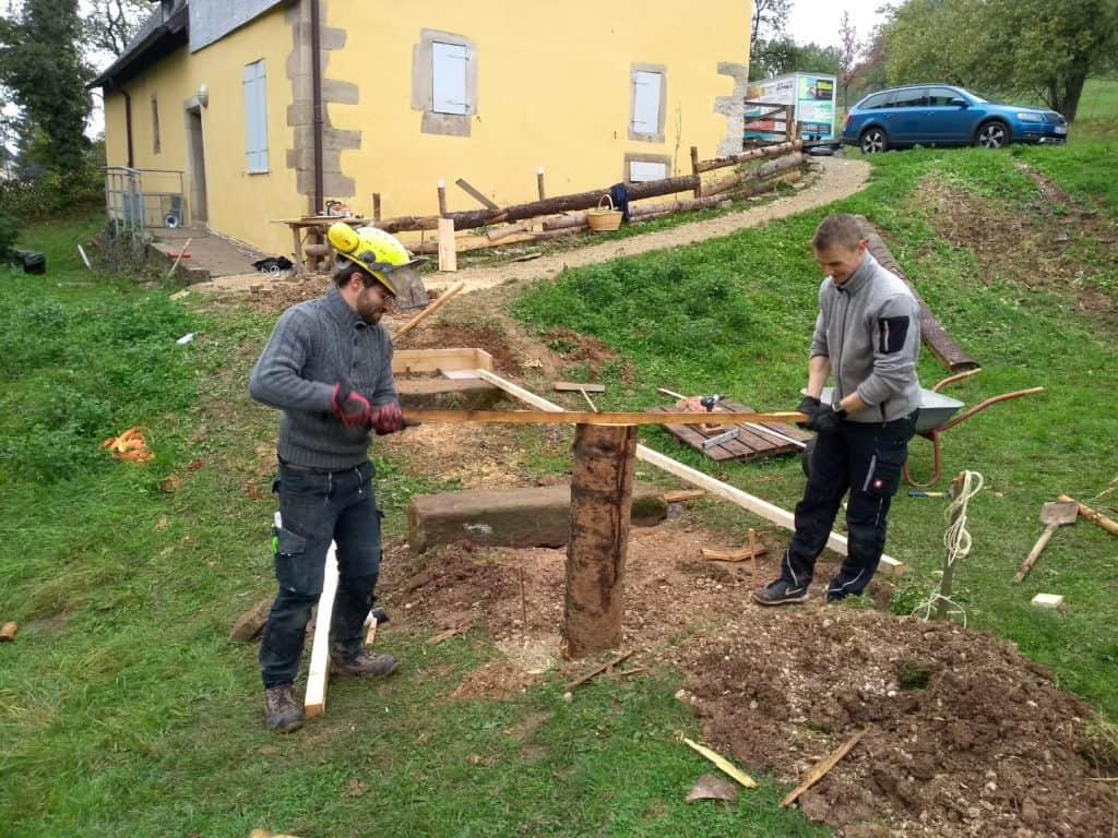 Holzstampfer Brückenbau